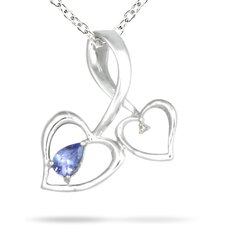 10K White Gold Pear Cut Tanzanite Heart Pendant