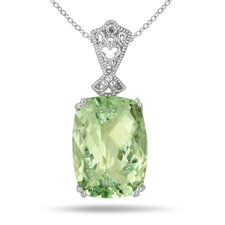 Sterling Silver Emerald Cut Amethyst Pendant
