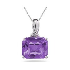 10K White Gold Emerald Cut Gemstone Pendant
