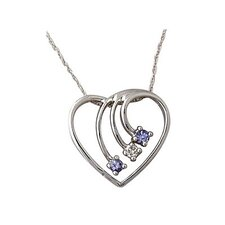14K White Gold Round Cut Tanzanite Heart Pendant