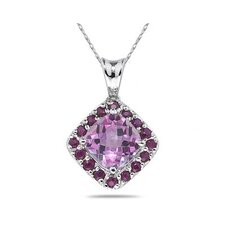 <strong>Szul Jewelry</strong> 14K White Gold Cushion Cut Topaz Pendant