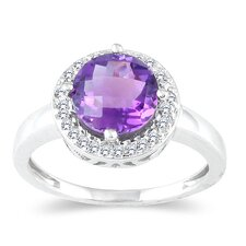 10K White Gold Round Cut Amethyst Ring