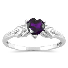 14K White Gold Heart Cut Gemstone Ring