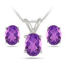 Sterling Silver Oval Cut Gemstone Jewelry Set