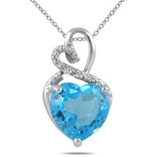 Sterling Silver Heart Cut Gemstone Heart Pendant