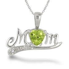 Sterling Silver Heart Cut Gemstone Mom Pendant