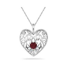 10K White Gold Heart Cut Gemstone Heart Mom Pendant