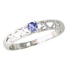 14K White Gold Round Cut Tanzanite Antique Ring