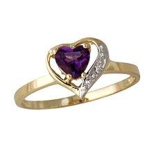 14K Yellow Gold Heart Cut Amethyst Ring