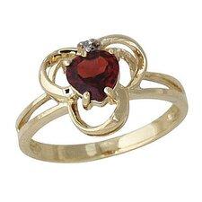 14K Yellow Gold Heart Cut Garnet Ring