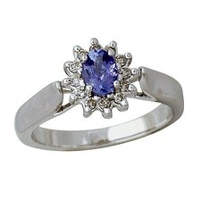 14K White Gold Oval Cut Tanzanite Ring