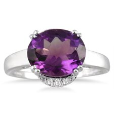 10K White Gold Oval Cut Amethyst Ring