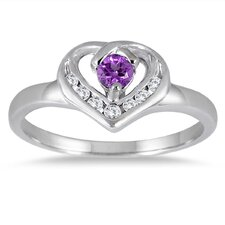 14K White Gold Heart Cut Gemstone Heart Ring