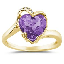 14K Yellow Gold Heart Cut Gemstone Curve Ring