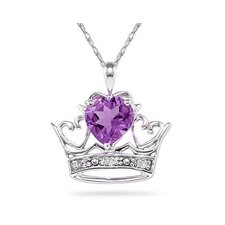 10K White Gold Heart Cut Gemstone Crown Pendant