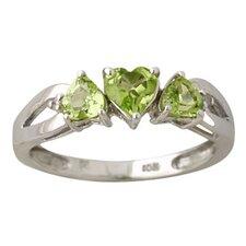 10K White Gold Heart Cut Peridot Ring