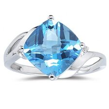 14K White Gold Cushion Cut Topaz Ring