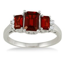 10K White Gold Emerald Cut Garnet Ring