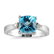 10k White Gold Cushion Cut Topaz  Ring