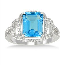 10K White Gold Emerald Cut Topaz Ring