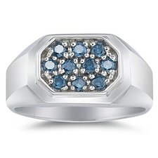 <strong>Szul Jewelry</strong> Men's 10K White Gold Round Cut Diamond Ring