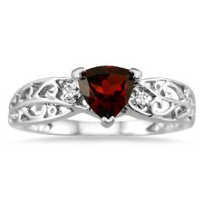 14K White Gold Trillion Cut Garnet Ring