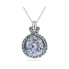 10K White Gold Round Cut Tanzanite Royal Pendant