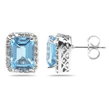 Emerald Cut Gemstone Stud Earrings