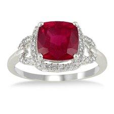 10K White Gold Cushion Cut Ruby Ring