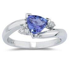 14K White Gold Trillion Cut Gemstone Ring
