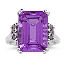 10K White Gold Emerald Cut Gemstone Ring