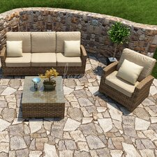 Cypress 3 Piece Sofa Deep Seating Group with Cushion