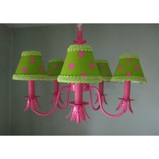 Shock Pink and Lime Dottie 5 Light Chandelier