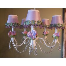 Purple Flutter Butterfly 5 Light Chandelier