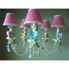 Bright Climbing Vine Butterfly 5 Light Chandelier