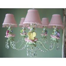Pastel Climbing Vine Butterfly 5 Light Chandelier