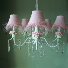 Baby Pink Flower 5 Light Chandelier