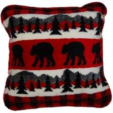 Acrylic / Polyester Bear Plaid Border Pillow