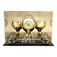 3 Baseball Gold Ring and Risers Display