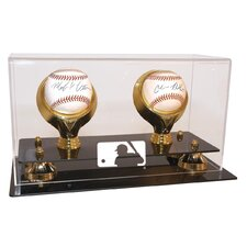 MLB Logo Double Baseball Gold Ring and Risers Display