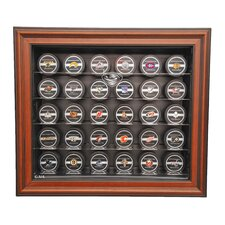 <strong>Caseworks International</strong> NHL Thirty Puck Cabinet Style Display Case in Brown
