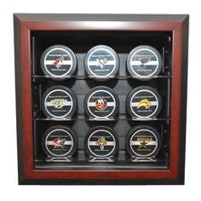"Nine Puck ""Case-Up"" Display in Brown"