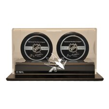 "NHL 4.25"" Double Hockey Puck Display Case"