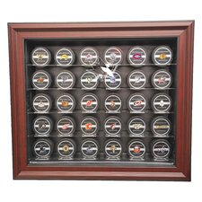 NHL Thirty Puck Cabinet Style Display Case in Mahogany
