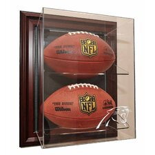 "Two Football ""Case-Up"" Display in Mahogany"