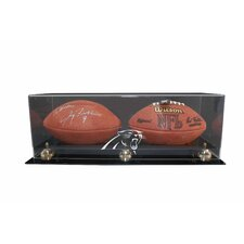 Double Football Display with Gold Risers