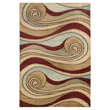 Brown / Blue Waves Area Rug