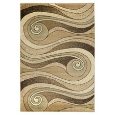 Gold / Beige Waves Area Rug
