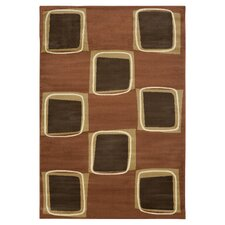 Rose / Brown Eight Square Area Rug