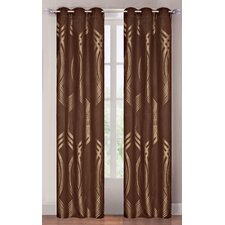<strong>Lavish Home</strong> Metallic Brown Grommet Curtain Panel (Set of 2)